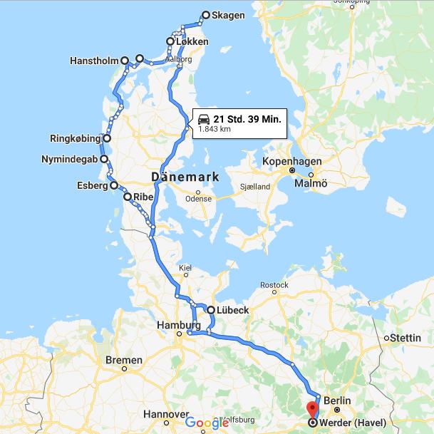 Route via Google Maps: Bis ganz oben und wieder zurück!